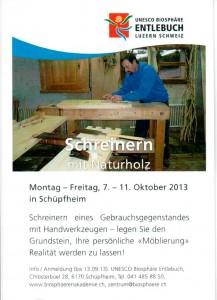 Flyer Schreinern mit Naturholz 2013
